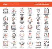 Power and Energy. Vector set of power and energy flat line web icons. Each icon with adjustable strokes neatly designed on pixel perfect 48X48 size grid. Fully Royalty Free Stock Image