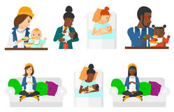 Vector set of pregnancy and parenthood. Royalty Free Stock Image