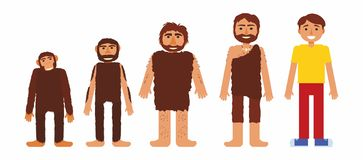 Vector set with prehistoric people. royalty free illustration