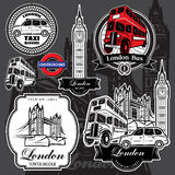 Vector set premium labels from London attractions Stock Photography