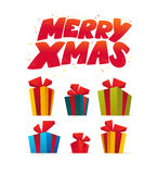 Vector set of present and gift boxes  on white background. Happy New Year, Merry Christmas, xmas decoration design element. Good for congratulation card Royalty Free Stock Photo