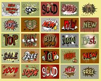 Vector set of price tags. Vector set of comic book style price tags Royalty Free Stock Images