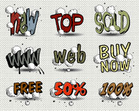 Vector set of price tags. Vector set of comic book style price tags Stock Photo