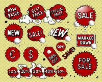 Vector set of price tags. Vector set of comic book style price tags Stock Photos