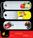 Vector set of price tags for school. Royalty Free Stock Photography