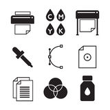 Vector set of printing icons. Palette and printer, curve bezier Royalty Free Stock Photography