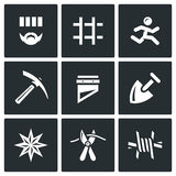 Vector Set of Prison Icons. Prisoner, Detention, Cell, Escape, Work, Death, Penalty, Thief-in-law, Sabotage, Isolation. Royalty Free Stock Images