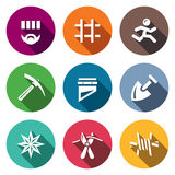 Vector Set of Prison Icons. Prisoner, Detention, Cell, Escape, Work, Death, Penalty, Thief-in-law, Sabotage, Isolation. Stock Image