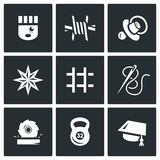 Vector Set of Prison Icons. Prisoner, Isolation, Supervision, Tattoo, Cell, Sewing, Woodworking, Sport, Education. Royalty Free Stock Photos