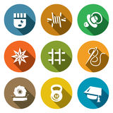 Vector Set of Prison Icons. Prisoner, Isolation, Supervision, Tattoo, Cell, Sewing, Woodworking, Sport, Education. Stock Images
