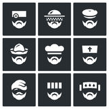 Vector Set of Profession People Icons. Doctor, Beekeeper, Hunter, Attendant, Cook, Priest, Homeless, Prisoner, Patient. Royalty Free Stock Images