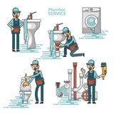 Vector set of professional plumbers repairing the broken home facilities, washbasin, toilet, cabin, washing machine, radiator. Clog of pipes. Plumbing service royalty free illustration