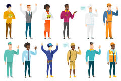 Vector set of professions characters. Caucasian chief-cooker with speech bubble. Chief-cooker giving a speech. Chief-cooker with speech bubble coming out of his Stock Photos