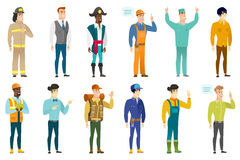 Vector set of professions characters. Royalty Free Stock Images