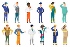 Vector set of professions characters. Caucasian firefighter laughing. Firefighter laughing with hands on his head. Firefighter laughing with closed eyes and Stock Photos
