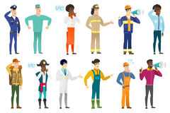 Vector set of professions characters. Firefighter with arm out in a welcoming gesture. Full length of welcoming young firefighter. Firefighter doing a welcome Royalty Free Stock Photography