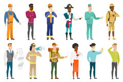 Vector set of professions characters. Young caucasian firefighter with a megaphone making an announcement. Firefighter making warning announcement through Stock Image