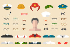 Vector set of professions dress up constructor with different men occupation, glasses, mustache, wear. Male icon creator. Big vector set of professions dress up royalty free illustration