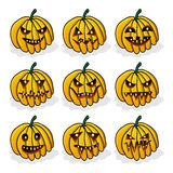 Vector set pumpkins for Halloween Royalty Free Stock Images