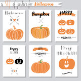 Vector set with pumpkins for Halloween Stock Images