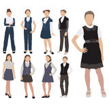 Vector set of pupils silhouette in school uniform  on white background. Female dress code clothes. Vector set of pupils silhouette in school uniform  on white Royalty Free Stock Image