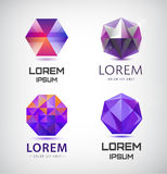 Vector set of purple crystal, faceted logos. 3d abstract logos gem jewelry logos, identity icons Royalty Free Stock Photos