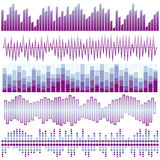 Vector set of purple sound waves. Audio equalizer. Sound & audio waves Stock Photography