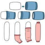 Vector set of put on pillowcase. Hand drawn cartoon, doodle illustration Stock Photography