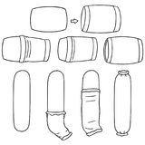 Vector set of put on pillowcase. Hand drawn cartoon, doodle illustration Stock Photo