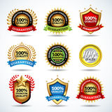 Vector set of 100% quality guarantee, satisfaction guaranteed labels, stamps, banners, badges, crests, labels. Stock Photography