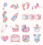 Vector Set: Quilt Pattern Baby Icons Royalty Free Stock Images