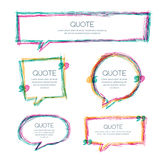Vector set of quote blank template. Multicolor overlapping banner background. Hand drawn sketch frames. Blank speech bubbles for text information and print Royalty Free Stock Images