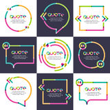 Vector set of quote forms template. Multicolor trendy background Stock Photo