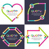 Vector set of quote forms template. Multicolor trendy background Royalty Free Stock Image
