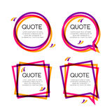 Vector set quote frame, colorful quote frames for modern design Stock Photos