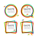 Vector set quote frame, colorful quote frames for modern design Stock Image