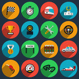 Vector set of racing icons in flat style Stock Image