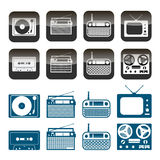 Vector set of radio, audio and music icons. Objects isolated on white background Stock Photos