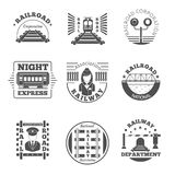 Vector set of railway emblem. Railroad labels or. Logos. Night express, association corporation national department logotype illustration stock illustration