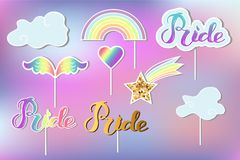 Vector set with Rainbow, cloud, heart, wings. stock illustration