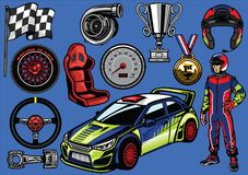 Set of rally car color. Vector set of rally car color Stock Images