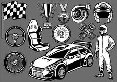 Set of Rally car racing elements. Vector Set of Rally car racing elements Royalty Free Stock Photography
