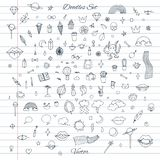 Vector set of random doodles with clouds, rainbows, lips, cats, cactus, plants. And more. Hand drawn outline on the lined notebook background stock illustration