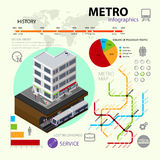 Vector set of rapid transport infographic elements. illustration of  isometric 3d metro, subway or underground. Stock Image