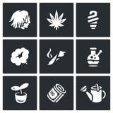 Vector Set of Rastaman Icons. Dreadlocks, Marijuana, Light, Smoking, Drug, Bong, Hydroponics, Money, Farm. Royalty Free Stock Image