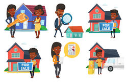 Vector set of real estate agents and house owners. Stock Photo