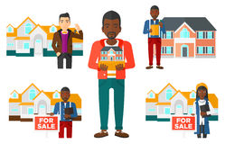 Vector set of real estate agents and house owners. Royalty Free Stock Photos