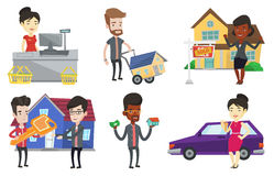 Vector set of real estate agents and house owners. Stock Photos