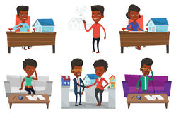 Vector set of real estate agents and house owners. Stock Photography