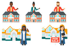 Vector set of real estate agents and house owners. Royalty Free Stock Images